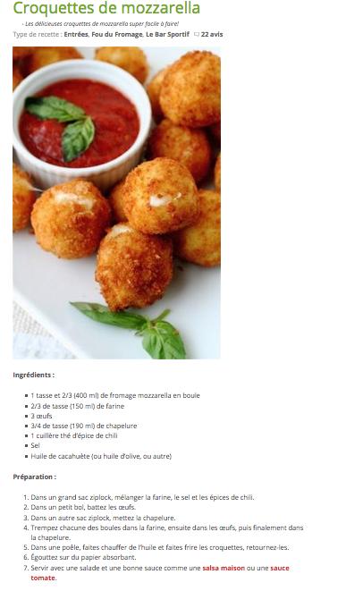 Recette croquette mozzarella